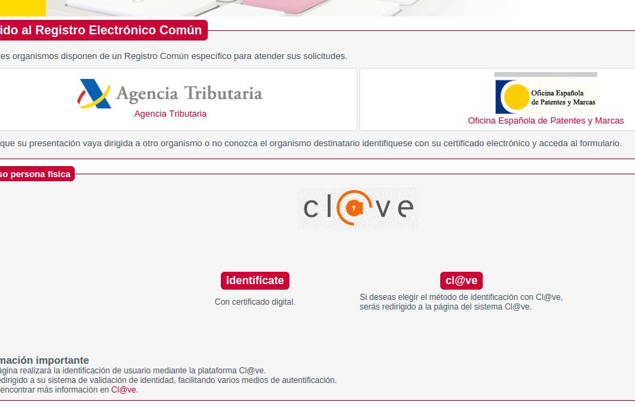 Sede virtual del Registro Electrónico Común de la AGE.
