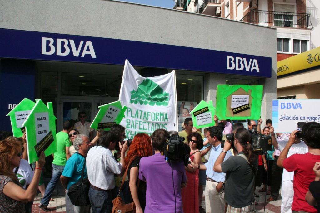 Protesta anti desahucios en Málaga. Crédito: Wikimedia
